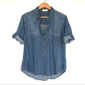BELLA DAHL Scallop Half Button Front Denim Shirt
